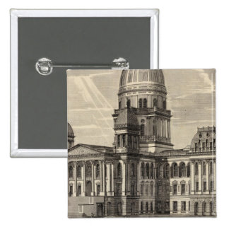 State Capitol building, Springfield, Ill 15 Cm Square Badge