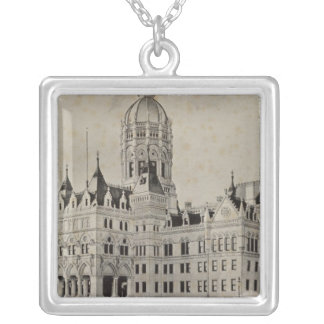 State Capitol, Hartford Silver Plated Necklace