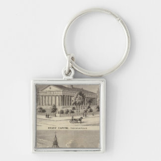 State Capitol , Marion County Court House Silver-Colored Square Key Ring