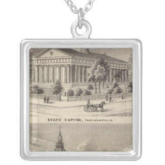 State Capitol , Marion County Court House Square Pendant Necklace