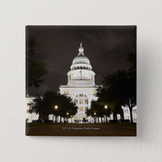 State Capitol of Austin, Texas at Night 15 Cm Square Badge
