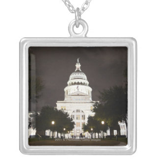 State Capitol of Austin, Texas at Night Silver Plated Necklace