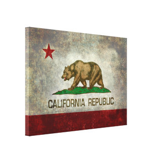 State flag of California, retro vintage style Stretched Canvas Print