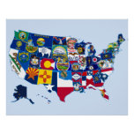 State Flags Map of the United States Poster