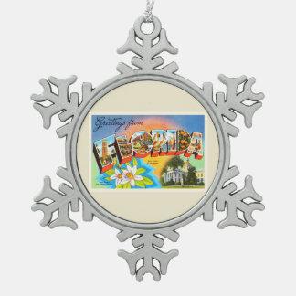 State Florida FL Old Vintage Travel Souvenir Pewter Snowflake Decoration