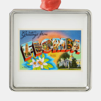 State Florida FL Old Vintage Travel Souvenir Silver-Colored Square Decoration
