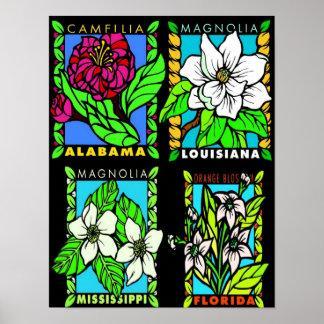 State Flowers of Al.,Miss., Fl., & La. Print