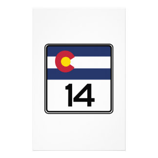 State Highway 14 Colorado USA Stationery