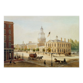 State House, Philadelphia, engraved by Deroy Poster