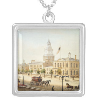 State House, Philadelphia, engraved by Deroy Silver Plated Necklace