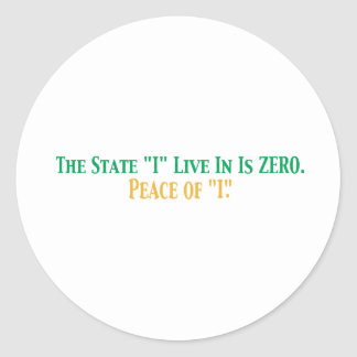 State I live in Round Sticker