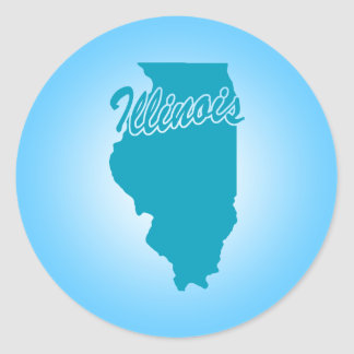 State Illinois Round Sticker