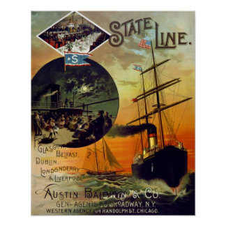 State Line Vintage Cruise Ship Travel Art Poster
