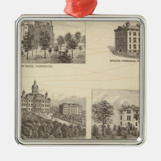 State normal schools and State University Silver-Colored Square Decoration