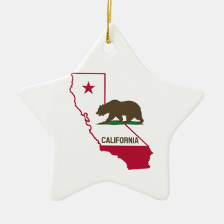State of California and Grizzly Bear Christmas Ornament