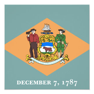 State of Delaware Flag 13 Cm X 13 Cm Square Invitation Card