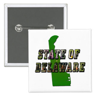 State of Delaware Picture Text and Map 15 Cm Square Badge