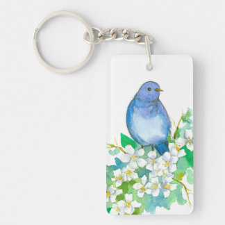 State of Idaho Mountain Bluebird Syringa Flower Key Ring