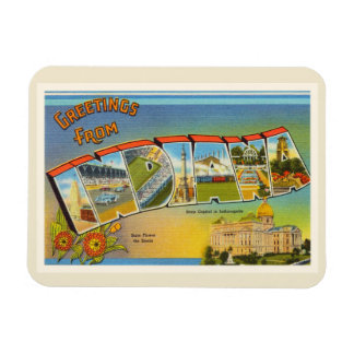 State of Indiana IN Old Vintage Travel Souvenir Magnet