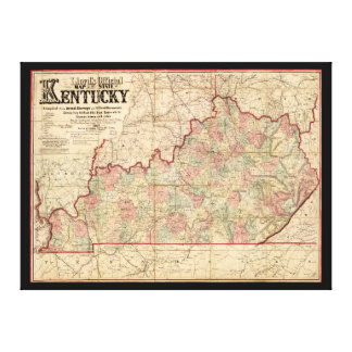 State of Kentucky Map by James Lloyd (1862) Stretched Canvas Print