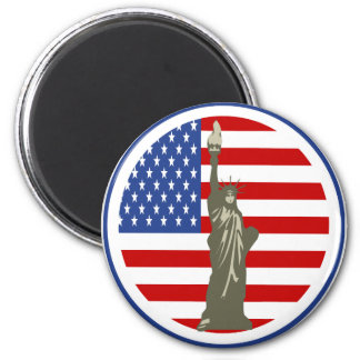 State of Liberty In USA Flag 6 Cm Round Magnet