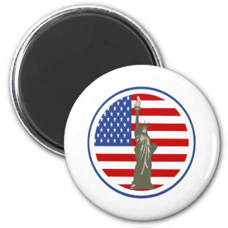 State of Liberty In USA Flag Fridge Magnets
