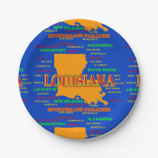 State of Louisiana Map, New Orleans, Shreveport 7 Inch Paper Plate