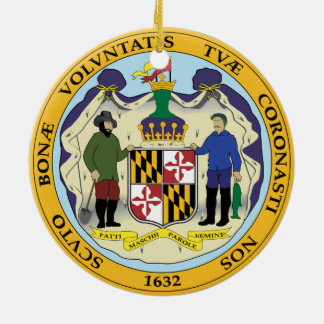 STATE OF MARYLAND SEAL ROUND CERAMIC DECORATION