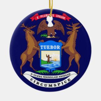 State of Michigan Flag Christmas Ornament