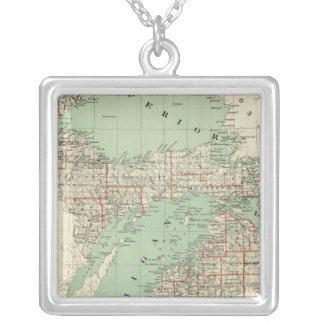 State of Michigan Silver Plated Necklace