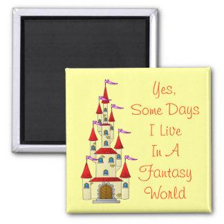 State of Mind Fantasy World - Fairytale Castle Square Magnet