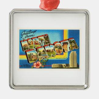 State of North Dakota ND Vintage Travel Souvenir Silver-Colored Square Decoration