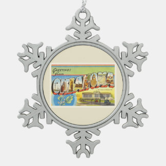 State of Oklahoma OK Old Vintage Travel Souvenir Snowflake Pewter Christmas Ornament