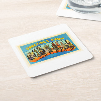 State of Pennsylvania PA Vintage Travel Souvenir Square Paper Coaster