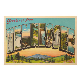 State of Tennessee TN Old Vintage Travel Souvenir Wood Prints
