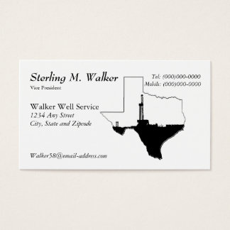 State of Texas and Oil Drilling Rig Business Card
