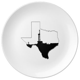 State of Texas and Oil Drilling Rig Porcelain Plate