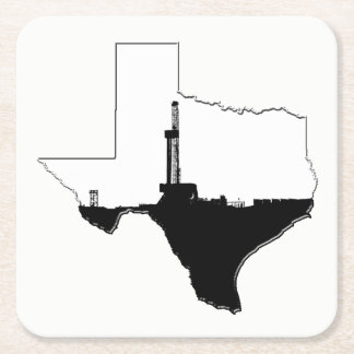 State of Texas and Oil Drilling Rig Square Paper Coaster
