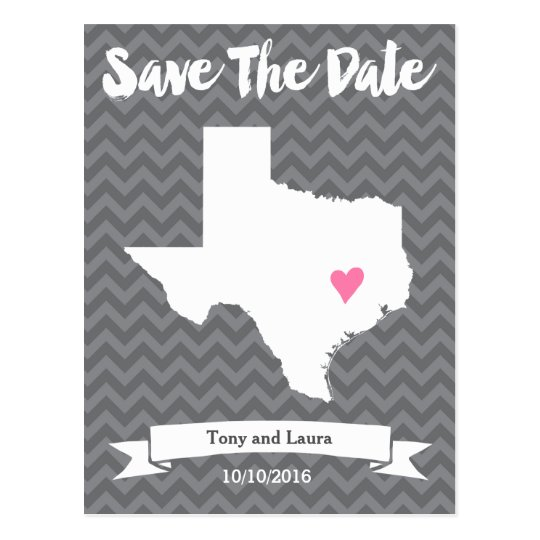 State of Texas Chevron Save The Date Heart Map Art Postcard