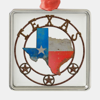 State of Texas Wrought Iron Silver-Colored Square Decoration