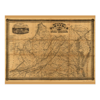 State of Virginia Map by West & Johnson (1862) Postcard