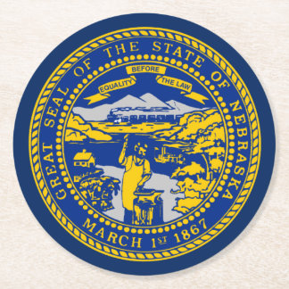 State Seal of Nebraska Round Paper Coaster