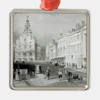 State Street, Boston,engraved by S.Lacey Silver-Colored Square Decoration