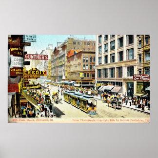 State Street, Chicago, Illinois 1905 Vintage Poster