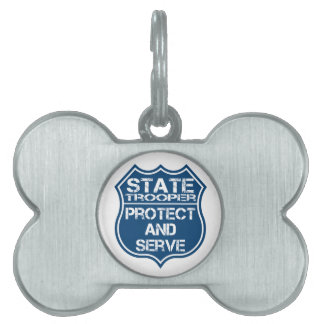 State Trooper Police Badge Protect and Serve Pet ID Tags
