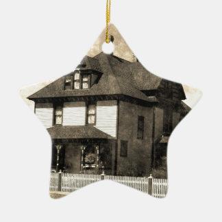 Stately Antique House Ceramic Star Decoration