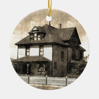 Stately Antique House Round Ceramic Decoration