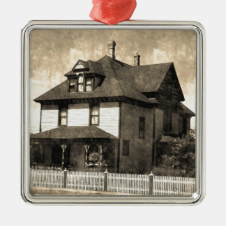 Stately Antique House Silver-Colored Square Decoration