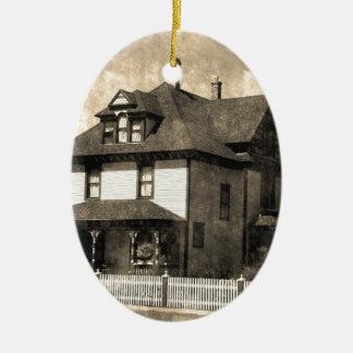Stately Antique House Ceramic Oval Decoration