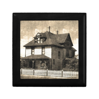 Stately Antique House Small Square Gift Box